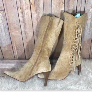 Mossimo cream side fringe heeled boots size 10 NEW